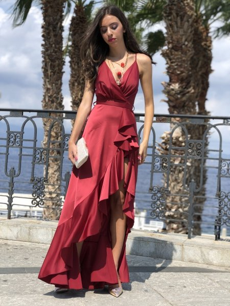 Vestito lungo rosso - ABiti cerimonia donna - Gogolfun.it