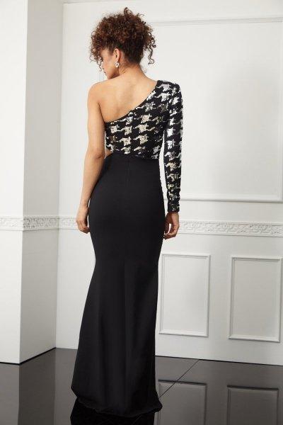 Elegancka, czarna sukienka damska - na jedno ramię