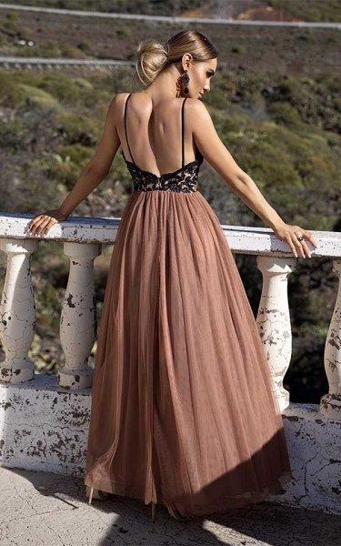Abito lungo cerimonia - Elegante - Rosa antico e nero - Gogolfun.it