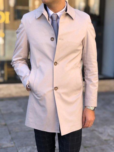 Płaszcz męski beżowy - Slim
