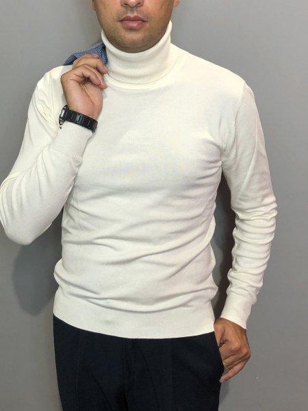 Męski sweter, golf - kolor biały, wysoki kołnierz - Made in Italy Odzież męska - Gogolfun.pl