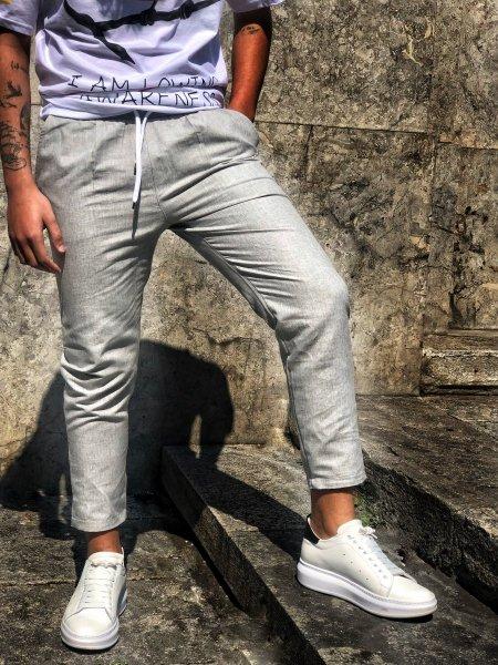 Pantaloni uomo - Pantaloni con lacci - Grigi - Gogolfun.it