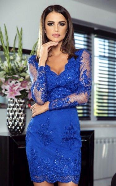 Vestito corto elegante - Blu elettrico - In pizzo - Gogolfun.it