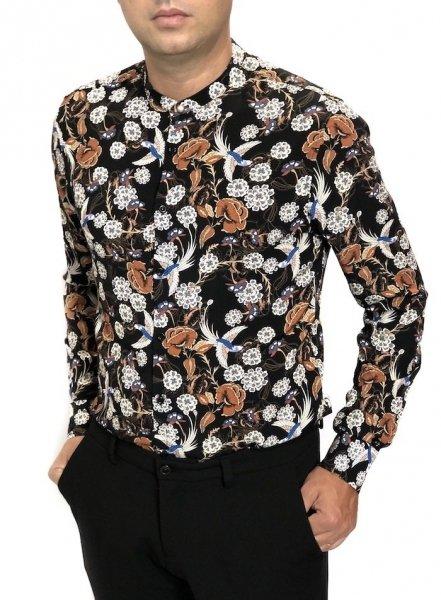 Camicia coreana, nera e cammello - Gogolfun.it Męska koszula, długi rękaw - Kołnierz koreański - Wzorzysta - Made in Italy - Gogolfun.pl