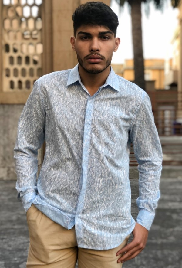 Camicia uomo slim fit - Camicia celeste elegante