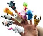 Pacynki pluszowe maskotki palczatki zwierzaki komplet 10sztuk