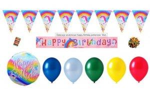 Dekoracje urodzinowe Happy Birthday jednorożec 10szt.