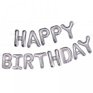 Balony foliowe zestaw liter Happy Birthday srebrny
