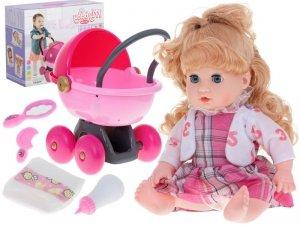 Lalka Ala z wózkiem + akcesoria sukienka w kratkę