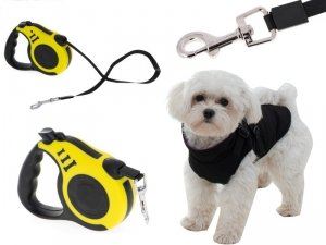 Smycz automatyczna taśma 3m dla psa do 8kg żółta