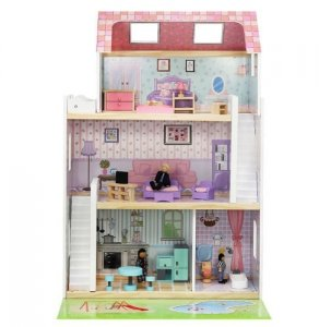 Domek dla lalek MDF z akcesoriami + lalki 86cm