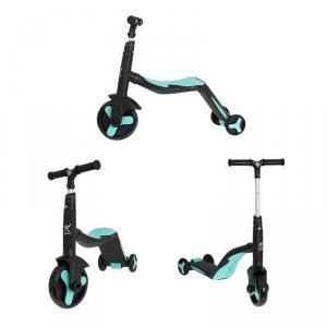 Hulajnoga Rowerek Trójkołowy jeździk 3w1 z muzyką czarno-niebieska Mini FIX