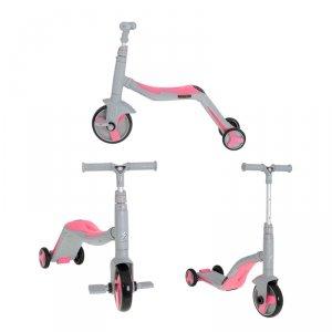 Hulajnoga Rowerek Trójkołowy jeździk z muzyką 3w1 szaro-różowa Mini FIX