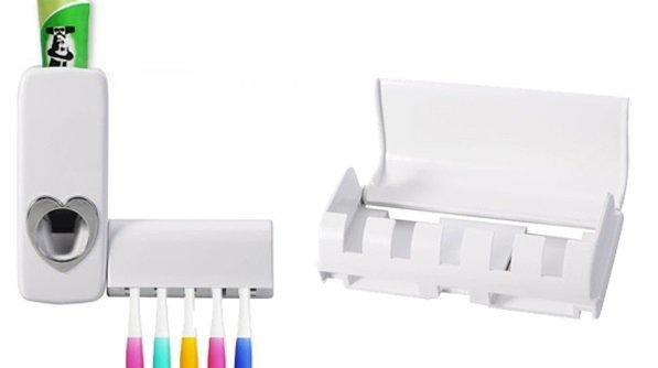 Dozownik pasty do zębów + uchwyt na szczoteczki