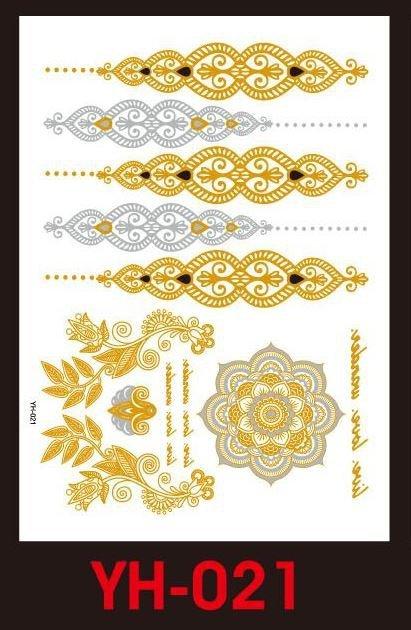 Tatuaże metalic złote srebrne FLASH TATTO YH-085