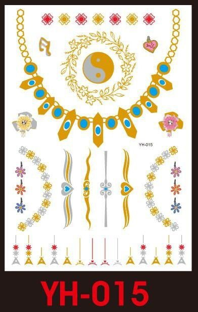 Tatuaże metalic złote srebrne FLASH TATTO YH-090