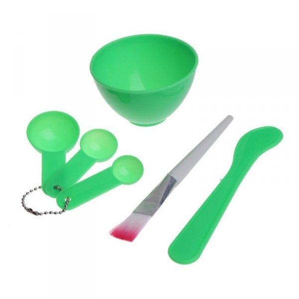 Zestaw: miska, miarki, pędzel do masek, alg zielon