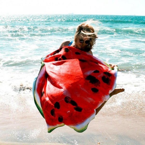 Szybkoschnąca mata plażowa 135cm wzór: arbuz