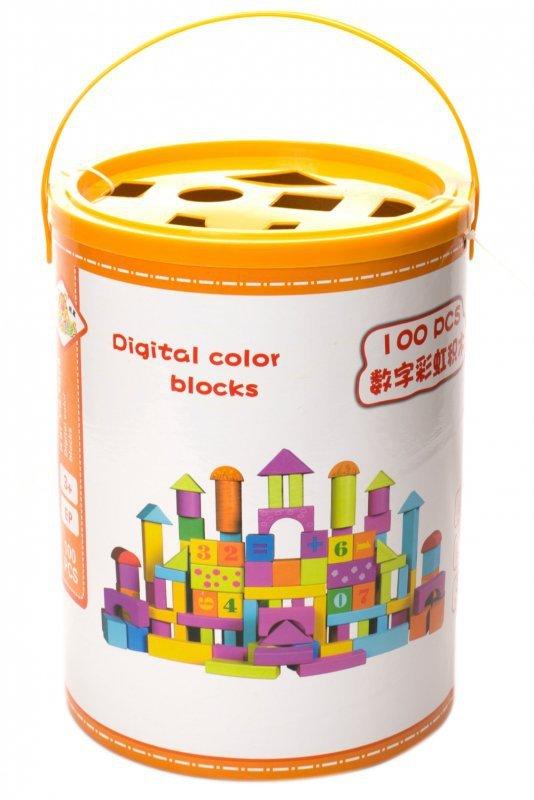 Klocki drewniane kolorowe w wiaderku 100szt