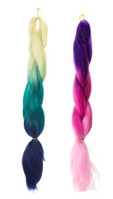 Włosy syntetyczne tęczowe ombre fiolet-ciemny róż-jasny róż