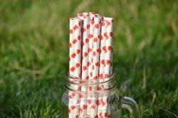 Ekologiczne słomki z papieru do picia PREMIUM 8 mm x 197mm serca