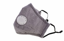Maska przeciwpyłowa bawełniana dla dorosłych z filtrami szara w kropki
