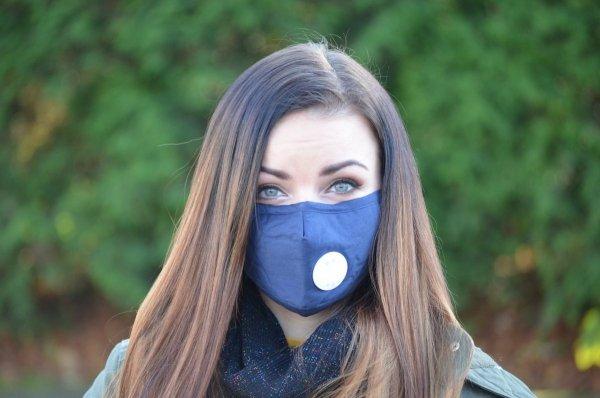Maska ochronna przeciwpyłowa bawełniana granatowa z filtrami