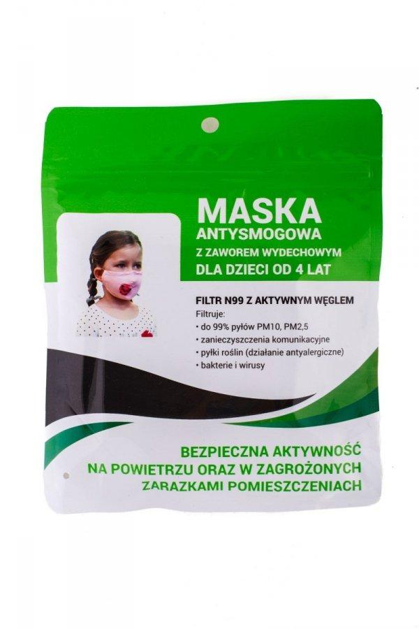 Maska antysmogowa dziecięca 'zajączek' + 2 filtry