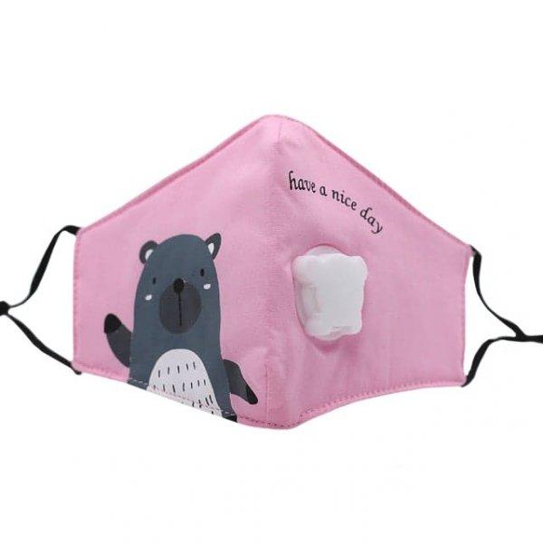 maseczka antysmogowa dla dzieci miś różowa