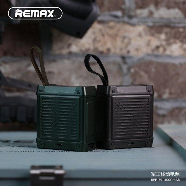 Wojskowy powerbank 10000 mAh  REMAX zielony