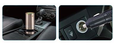 Oczyszczacz i jonizator powietrza do samochodu srebrny
