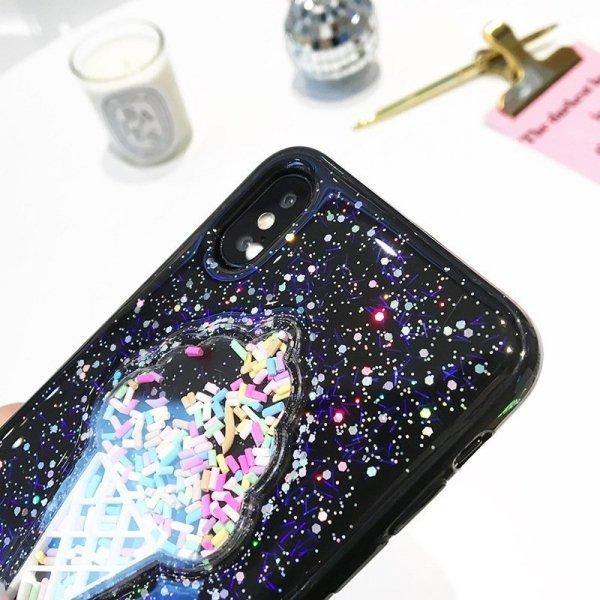 Etui iPhone 7 brokatowy black icecream