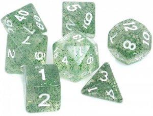 Komplet kości REBEL RPG - Brokatowe - Zielone