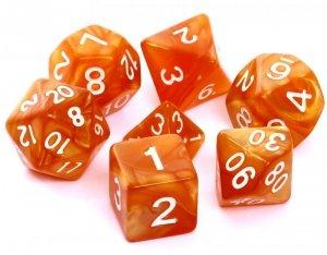 Komplet kości REBEL RPG - Perłowe - Ciemnożółte (białe cyfry)