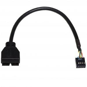 Kabel adapter Akyga AK-CA-28 USB 19pin M - USB 9pin F 0,2m czarny