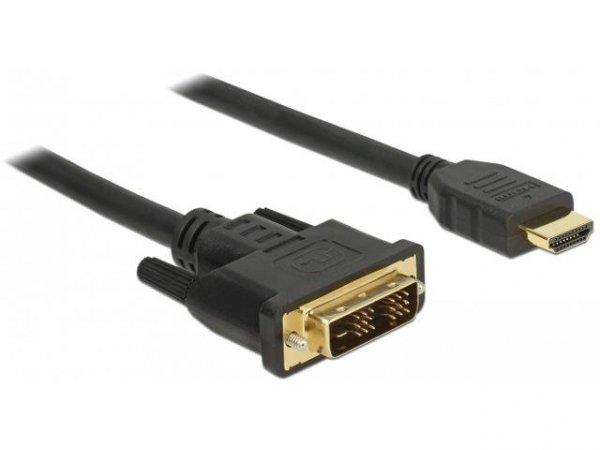 Kabel adapter Delock DVI-D(M)(18+1) - HDMI(M) v1.2 5m czarny