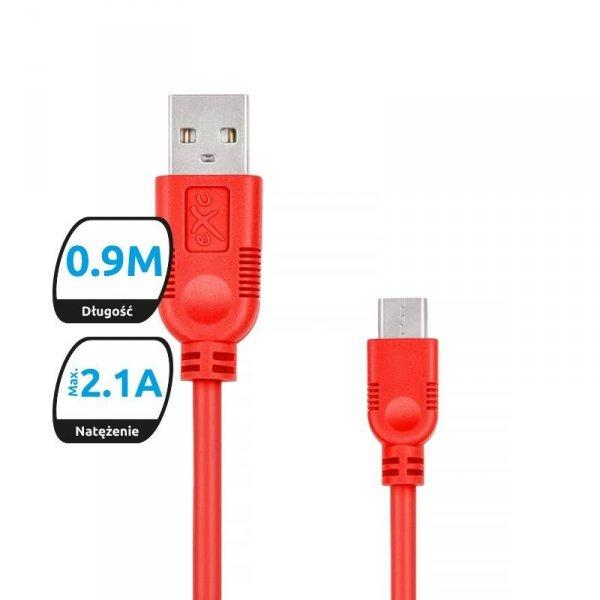 Kabel USB 2.0 eXc WHIPPY USB A(M) - Lightning 8-pin(M), 0,9m, czerwony