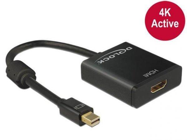 Adapter Delock DisplayPort mini 1.2 -> HDMI aktywny 4K na kablu 0,15m czarny
