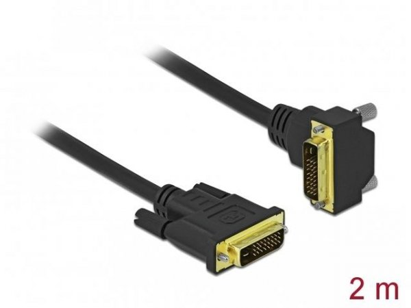 Kabel Delock DVI-D(M)(24+1) - DVI-D(M)(24+1) kątowy dół czarny 2m