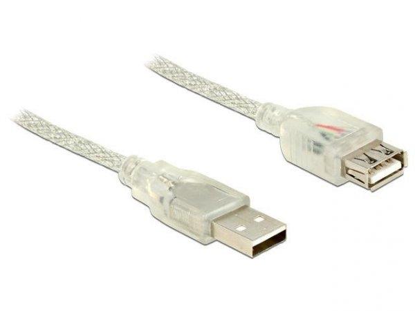 Przedłużacz USB Delock AM-AF USB 2.0 1,5m ferryt przezroczysty