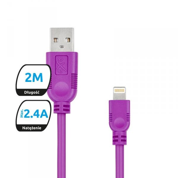 Kabel USB 2.0 eXc WHIPPY USB A(M) - Lightning 8-pin(M), 2m, fioletowy