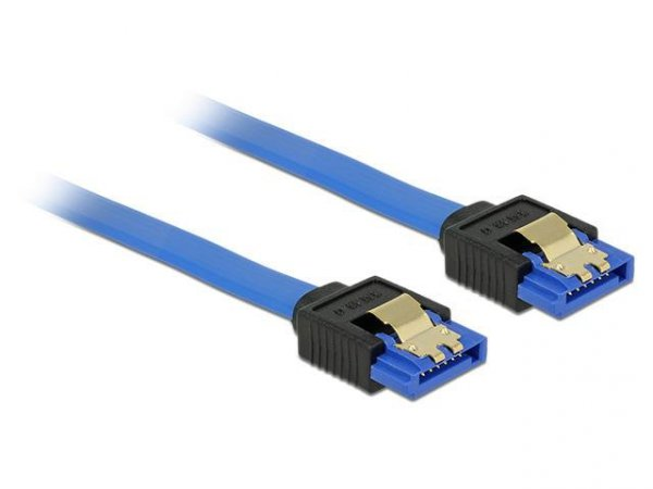 Kabel Delock SATA DATA III 0,70m z zatrzaskami metalowymi niebieski