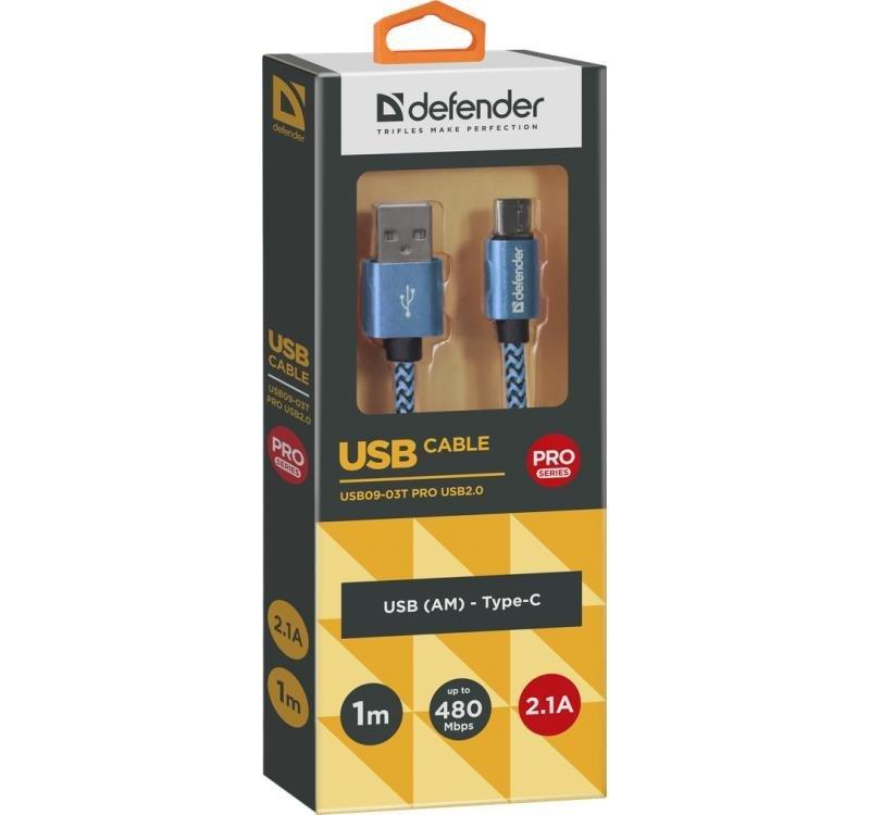 Kabel USB Defender AM-TYPE C 1m 2,1A niebieski