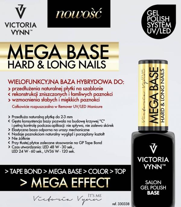 Mega Base Clear pod lakier hybrydowy (hard,hardi,baza) Przezroczysta Victoria Vynn 15ml (duża poj.)
