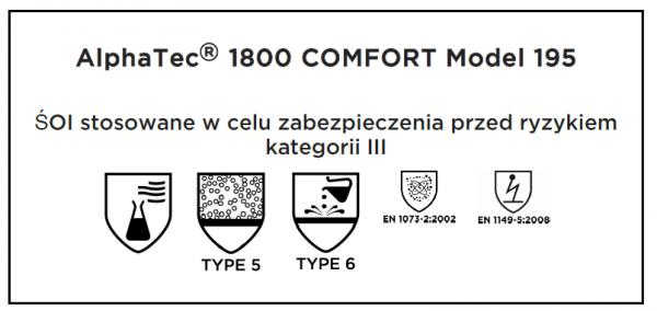 Kombinezon ochronny XXL typ 5/6 AlphaTec® 1800 COMFORT - model 195
