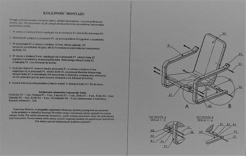 A-Poręcz PROSTA stelaż fotela finka