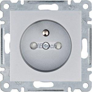 lumina Gniazdo zasilające z uziemieniem, przesłony styków, 16 A/250 VAC, srebrny WL1042