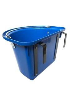 Pojemnik na paszę, wiadro, poidło, karmidło z hakami i pałąkiem, 12L, niebieskie