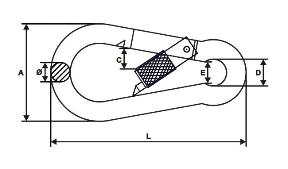 Karabińczyk z zabezpieczeniem 6mm