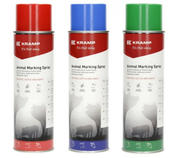 Zestaw 3 kolory - spray do znakowania zwierząt, KRAMP, 500ml